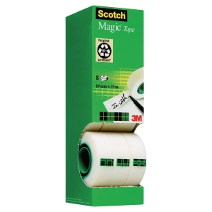 Ruban adhésif invisible Scotch Magic - 19 mm x 33 m - 7 rouleaux + 1 offert