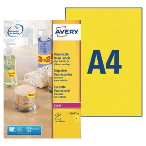Boite 20 étiquettes enlevables laser Avery 210x297mm jaune fluo l6006
