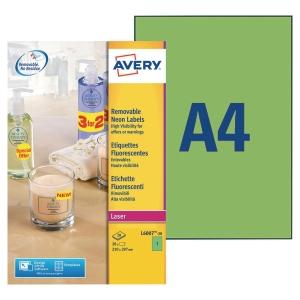 Boite 20 étiquettes enlevables laser Avery 210x297mm vert fluo l6007