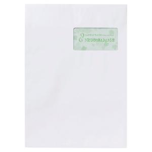 Boite de 250 pochettes recyclees blanche a fenetre c4 90g siliconnee 169319