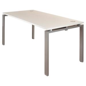 Bureau droit design BURONOMIC finition blanche pieds aluminium 160 x 80 cm