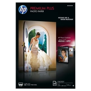 BOITE 20 FEUILLES PAPIER PHOTO HP PREMIUM+ A3 300G BRILLANT CR675A