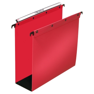 BOITE 10 DOSSIERS SUSPENDUS POPLYPROPYLENE ULTIMATE POUR TIROIRS DOS 80MM ROUGE