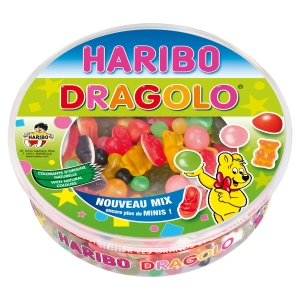 BOITE DE 750G DE DRAGOLO HARIBO ASSORTIMENT DE 3 SORTES DE BONBONS DIFFERENTS