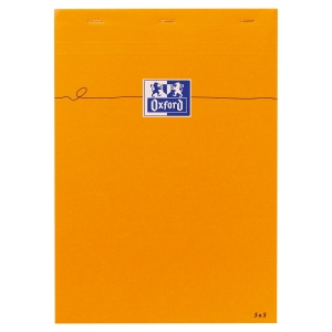 BLOC ORANGE A4 OXFORD 160 PAGES QUADRILLE 5X5 DESSOUS DOS CARTON RIGIDE