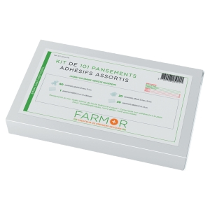 KIT DE 101 PANSEMENTS ADHESIFS ASSORTIS NON TISSES PANACHES BLANC