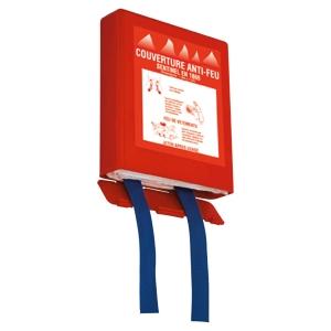 Couverture incendie anti-feu 120 x 180 cm boitier rigide rouge accroche murale