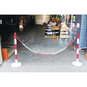 Kit de délimitation poteaux et chaine acier 2 mètres rouge/blanc