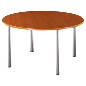 TABLE RONDE EN BOIS MERISIER AVEC PIETEMENT PIEDS CYLINDRIQUES DIAMETRE 120 CM