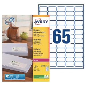 Boite 6500 étiquettes adresses recyclees laser blanches Avery 38,1x21,2mm lr7651