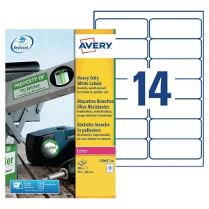 BOITE 280 ETIQUETTES ULTRA-RESISTANTES LASER AVERY 99,1X38,1MM  BLANCHES L7063