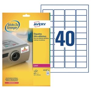BOITE 800 ETIQUETTES ULTRA ADHESIVES LASER AVERY 45,7X25,4MM BLANCHES L6140