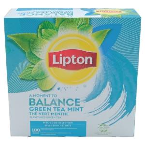 Paquet de 100 sachets lipton thé vert menthe