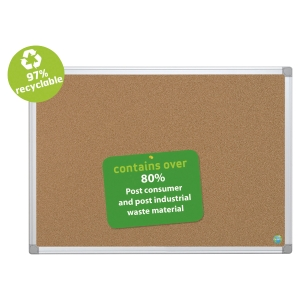 Tableau d affichage Bi-Office Earth-It fond liège, cadre aluminium, 90 x 60 cm