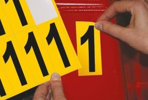 Carte de 10 chiffres adhésifs identiques - 1 hauteur 75 mm format 89 x 38 mm