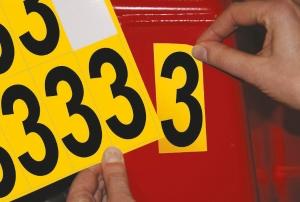 Carte de 10 chiffres adhésifs identiques - 3 hauteur 75 mm format 89 x 38 mm