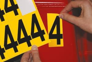 Carte de 10 chiffres adhésifs identiques - 4 hauteur 75 mm format 89 x 38 mm