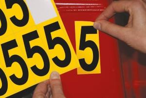 Carte de 10 chiffres adhésifs identiques - 5 hauteur 75 mm format 89 x 38 mm