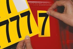 Carte de 10 chiffres adhésifs identiques - 7 hauteur 75 mm format 89 x 38 mm
