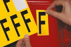 Lettre adhésive F - 75 mm - noir/jaune - carte de 10