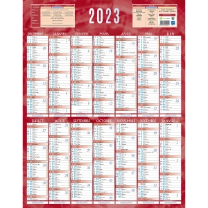Calendrier mural 14 mois 55x43 cm vertical rouge