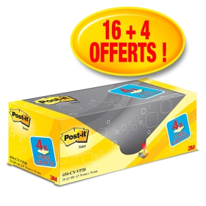 PACK AVANTAGES DE 20 BLOCS POST-IT DONT 4 OFFERTS 76X76 100 FEUILLES JAUNES