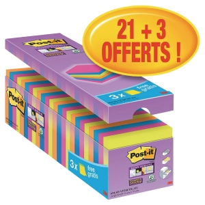 Notes Post-it Super Sticky - 76 x 76 mm - assortis - 24 blocs x 90 feuilles