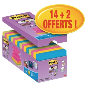 PACK AVANTAGES DE 16 BLOCS Z-NOTES SUPER STICKY POST-IT 76X76MM COLORIS ASSORTIS