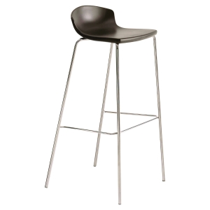 TABOURET SOKOA LOOK ASSISE POLYPROPYLENE PIETEMENT CHROME NOIR