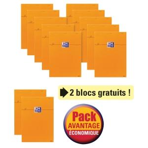 PACK AVANTAGE LOT DE 10 BLOCS OXFORD A4 QUADRILLE 5X5 160P ORGE + 2 GRATUITS