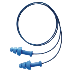 Boite de 50 paires de bouchons d'oreilles Smartfit cordés détectables 30dB bleu