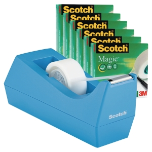 Pack Dévidoir c38 Scotch leste coloris bleu aspect mat + 6 rouleaux Scotch magic