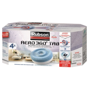 PAQUET DE 4 RECHARGES POUR ABSORBEUR D HUMIDITE RUBSON AERO 360°