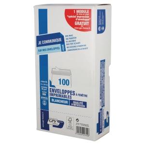 BOITE DE 100 ENVELOPPES FORMAT DL FENETRE 45X100 80GR BLANCHES
