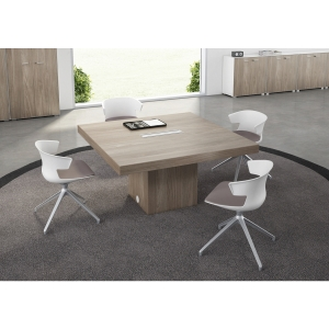 TABLE DE REUNION DIRECTION T45 QUADRIFOGLIO 140X140 ORME/BLANC