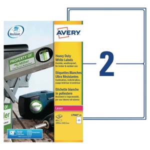 BOITE 40 ETIQUETTES ULTRA-RESISTANTES LASER AVERY 199,6X143,5 MM BLANCHES L7068