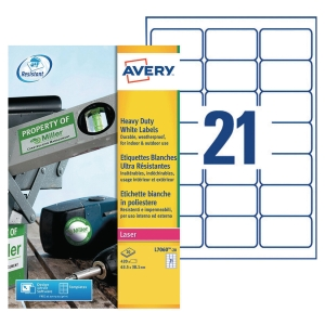 BOITE 420 ETIQUETTES ULTRA-RESISTANTES LASER AVERY 63,5X38,1MM BLANCHES L7060