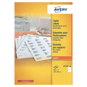 BOITE 200 ETIQUETTES PHOTOCOPIEUR AVERY 210X297MM BLANCHES 23530-200