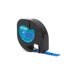 RUBAN PLASTIQUE POUR DYMO LETRATAG 12 MM X 4 M BLEU 91205