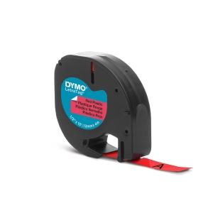 RUBAN PLASTIQUE POUR DYMO LETRATAG 12 MM X 4 M ROUGE 91203