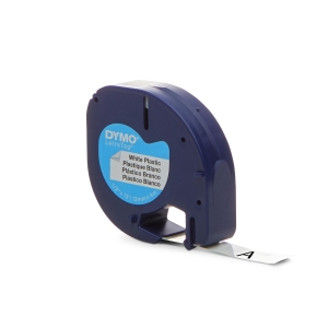 RUBAN PLASTIQUE POUR DYMO LETRATAG 12 MM X 4 M BLANC 91201