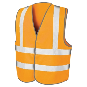 GILET DE SECURITE MOTORWAY VESTE AVEC 2 BANDES ORANGE TAILLE L/XL