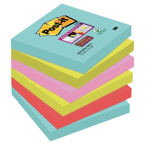 Notes Post-it Super Sticky - 76 x 76 mm - Miami - 6 blocs x 90 feuilles