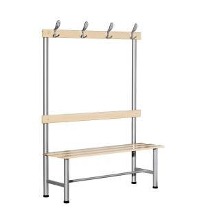 BANC DE VESTIAIRE A PATERE SIMPLE FACE LARGEUR 1500 MM EN METAL