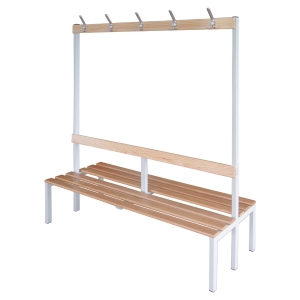 BANC DE VESTIAIRE A PATERE DOUBLE FACE LARGEUR 1200 MM EN METAL