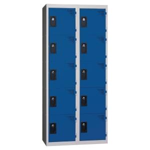 Vestiaire EVP - 2 colonnes - 10 cases - L 60 cm - bleu