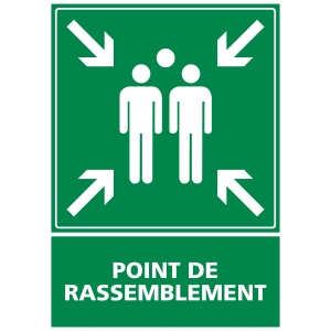 INDICATEUR DE POINT DE RASSEMBLEMENT EN PVC 300 X 420 MM