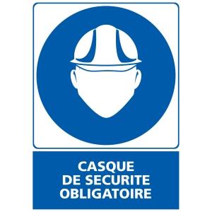 Panneau casque de sécurité obligatoire en PVC  150 x 210 mm