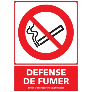 INDICATEUR DE DEFENSE DE FUMER EN PVC  150 X 210 MM