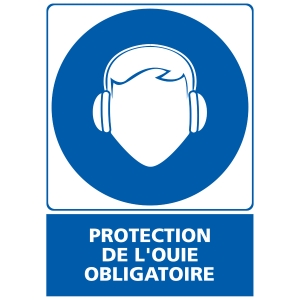 INDICATEUR DE PROTECTION OUIE OBLIGATOIRE ADHÉSIF 150X210MM